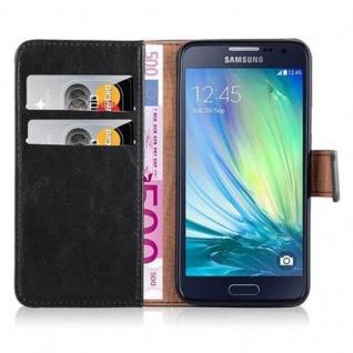 Cadorabo Hülle für Samsung Galaxy A3 2015 in GRAPHIT SCHWARZ - Handyhülle mit Magnetverschluss, Standfunktion und Kartenfach - Case Cover Schutzhülle Etui Tasche Book Klapp Style - Vorschau 3