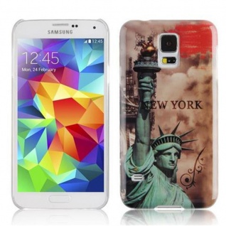 Cadorabo - Hard Cover für Samsung Galaxy S5 / S5 NEO - Case Cover Schutzhülle Bumper im Design: NEW YORK - FREIHEITSSTATUE