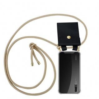 Cadorabo Handy Kette für Huawei P20 in GLÄNZEND BRAUN Silikon Necklace Umhänge Hülle mit Gold Ringen, Kordel Band Schnur und abnehmbarem Etui Schutzhülle