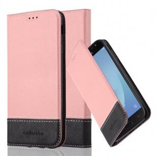 Cadorabo Hülle für Samsung Galaxy J7 2017 in ROSÉ GOLD SCHWARZ - Handyhülle mit Magnetverschluss, Standfunktion und Kartenfach - Case Cover Schutzhülle Etui Tasche Book Klapp Style