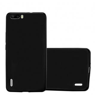 Cadorabo Hülle für Honor 6 PLUS in METALLIC SCHWARZ - Handyhülle aus flexiblem TPU Silikon - Silikonhülle Schutzhülle Ultra Slim Soft Back Cover Case Bumper