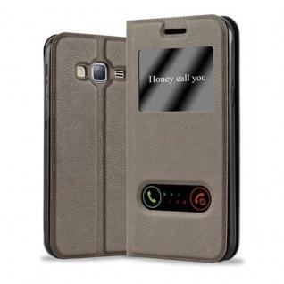 Cadorabo Hülle für Samsung Galaxy J3 / J3 DUOS 2016 in STEIN BRAUN - Handyhülle mit Magnetverschluss, Standfunktion und 2 Sichtfenstern - Case Cover Schutzhülle Etui Tasche Book Klapp Style