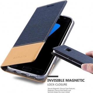 Cadorabo Hülle für Samsung Galaxy S7 EDGE in DUNKEL BLAU BRAUN - Handyhülle mit Magnetverschluss, Standfunktion und Kartenfach - Case Cover Schutzhülle Etui Tasche Book Klapp Style