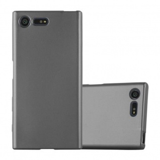 Cadorabo Hülle für Sony Xperia X Compact in METALLIC GRAU - Handyhülle aus flexiblem TPU Silikon - Silikonhülle Schutzhülle Ultra Slim Soft Back Cover Case Bumper