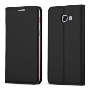 Cadorabo Hülle für Samsung Galaxy A3 2017 in CLASSY SCHWARZ - Handyhülle mit Magnetverschluss, Standfunktion und Kartenfach - Case Cover Schutzhülle Etui Tasche Book Klapp Style - Vorschau 1