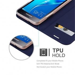 Cadorabo Hülle für Samsung Galaxy J1 2016 in CLASSY DUNKEL BLAU - Handyhülle mit Magnetverschluss, Standfunktion und Kartenfach - Case Cover Schutzhülle Etui Tasche Book Klapp Style - Vorschau 2