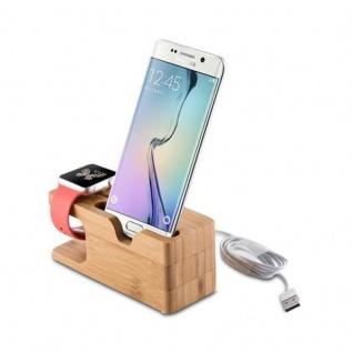 Cadorabo Docking Station - Ladestation aus Echtholz Bambus - Desktop Ständer für alle Smartphones und Smartwatches von z.B. Apple, Samsung, Nokia, Motorola - Vorschau 3