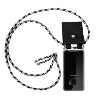Cadorabo Handy Kette für Samsung Galaxy S9 in SCHWARZ CAMOUFLAGE - Silikon Necklace Umhänge Hülle mit Silber Ringen, Kordel Band Schnur und abnehmbarem Etui - Schutzhülle