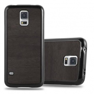Cadorabo Hülle für Samsung Galaxy S5 / S5 NEO in WOODEN SCHWARZ ? Handyhülle aus flexiblem TPU Silikon ? Silikonhülle Schutzhülle Ultra Slim Soft Back Cover Case Bumper