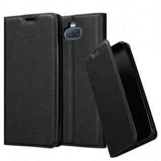 Cadorabo Hülle für Sony Xperia 10 PLUS in NACHT SCHWARZ - Handyhülle mit Magnetverschluss, Standfunktion und Kartenfach - Case Cover Schutzhülle Etui Tasche Book Klapp Style