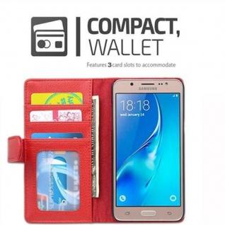 Cadorabo Hülle für Samsung Galaxy J5 2016 in INFERNO ROT - Handyhülle mit Magnetverschluss und 3 Kartenfächern - Case Cover Schutzhülle Etui Tasche Book Klapp Style - Vorschau 3