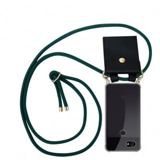 Cadorabo Handy Kette für Google Pixel 2 XL in ARMEE GRÜN - Silikon Necklace Umhänge Hülle mit Gold Ringen, Kordel Band Schnur und abnehmbarem Etui ? Schutzhülle