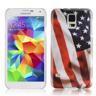 Cadorabo - Hard Cover für Samsung Galaxy S5 / S5 NEO - Case Cover Schutzhülle Bumper im Design: STARS AND STRIPES