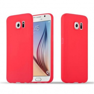 Cadorabo Hülle für Samsung Galaxy S6 in CANDY ROT - Handyhülle aus flexiblem TPU Silikon - Silikonhülle Schutzhülle Ultra Slim Soft Back Cover Case Bumper