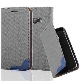 Cadorabo Hülle für Samsung Galaxy J1 2016 - Hülle in GRAU BLAU ? Handyhülle in Bast-Optik mit Kartenfach und Standfunktion - Case Cover Schutzhülle Etui Tasche Book Klapp Style
