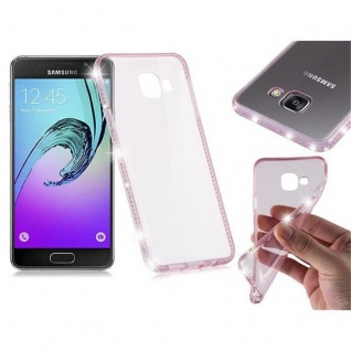 Cadorabo Hülle für Samsung Galaxy A3 2016 (6) - Hülle in TRANSPARENT ROSA - Handyhülle aus TPU Silikon im Strass Design - Silikonhülle Schutzhülle Ultra Slim Soft Back Cover Case Bumper