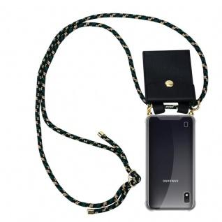 Cadorabo Handy Kette für Samsung Galaxy M10 in CAMOUFLAGE Silikon Necklace Umhänge Hülle mit Gold Ringen, Kordel Band Schnur und abnehmbarem Etui Schutzhülle