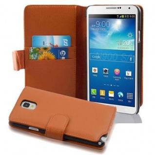 Cadorabo Hülle für Samsung Galaxy NOTE 3 in COGNAC BRAUN ? Handyhülle aus strukturiertem Kunstleder mit Standfunktion und Kartenfach ? Case Cover Schutzhülle Etui Tasche Book Klapp Style