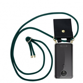 Cadorabo Handy Kette für Motorola MOTO C PLUS in ARMEE GRÜN Silikon Necklace Umhänge Hülle mit Gold Ringen, Kordel Band Schnur und abnehmbarem Etui Schutzhülle