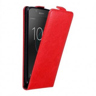Cadorabo Hülle für Sony Xperia L1 in APFEL ROT - Handyhülle im Flip Design mit unsichtbarem Magnetverschluss - Case Cover Schutzhülle Etui Tasche Book Klapp Style