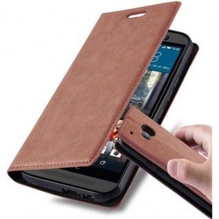 Cadorabo Hülle für HTC ONE M9 (3.Generation) in CAPPUCCINO BRAUN - Handyhülle mit Magnetverschluss, Standfunktion und Kartenfach - Case Cover Schutzhülle Etui Tasche Book Klapp Style