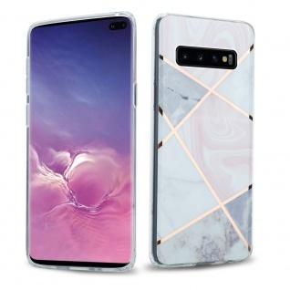 Cadorabo Hülle für Samsung Galaxy S10 PLUS Hülle in Pink weiß gold Marmor No.9 Handyhülle aus TPU Silikon mit Muster Mosaik Silikonhülle Schutzhülle Ultra Slim Back Cover Case Bumper