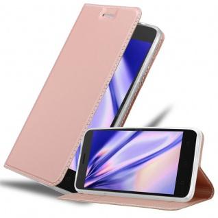Cadorabo Hülle für Lenovo K6 / K6 POWER in CLASSY ROSÉ GOLD - Handyhülle mit Magnetverschluss, Standfunktion und Kartenfach - Case Cover Schutzhülle Etui Tasche Book Klapp Style