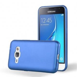 Cadorabo Hülle für Samsung Galaxy J1 2015 in METALLIC BLAU - Handyhülle aus flexiblem TPU Silikon - Silikonhülle Schutzhülle Ultra Slim Soft Back Cover Case Bumper