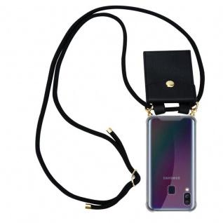 Cadorabo Handy Kette für Samsung Galaxy A40 in SCHWARZ Silikon Necklace Umhänge Hülle mit Gold Ringen, Kordel Band Schnur und abnehmbarem Etui Schutzhülle