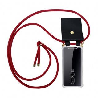 Cadorabo Handy Kette für OnePlus 6 in RUBIN ROT - Silikon Necklace Umhänge Hülle mit Gold Ringen, Kordel Band Schnur und abnehmbarem Etui ? Schutzhülle