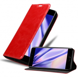 Cadorabo Hülle für MEIZU M6 in APFEL ROT Handyhülle mit Magnetverschluss, Standfunktion und Kartenfach Case Cover Schutzhülle Etui Tasche Book Klapp Style