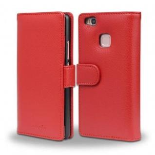 Cadorabo Hülle für Huawei P9 LITE in INFERNO ROT - Handyhülle mit Magnetverschluss und 3 Kartenfächern - Case Cover Schutzhülle Etui Tasche Book Klapp Style