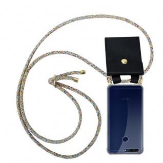 Cadorabo Handy Kette für Honor 8 PRO in RAINBOW - Silikon Necklace Umhänge Hülle mit Gold Ringen, Kordel Band Schnur und abnehmbarem Etui ? Schutzhülle