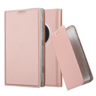 Cadorabo Hülle für Nokia Lumia 1020 in CLASSY ROSÉ GOLD - Handyhülle mit Magnetverschluss, Standfunktion und Kartenfach - Case Cover Schutzhülle Etui Tasche Book Klapp Style
