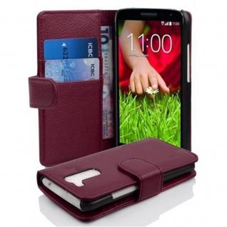 Cadorabo Hülle für LG G2 MINI - Hülle in BORDEAUX LILA ? Handyhülle mit Kartenfach aus struktriertem Kunstleder - Case Cover Schutzhülle Etui Tasche Book Klapp Style