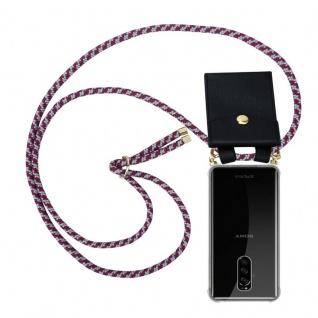 Cadorabo Handy Kette für Sony Xperia 1 in ROT WEISS - Silikon Necklace Umhänge Hülle mit Gold Ringen, Kordel Band Schnur und abnehmbarem Etui ? Schutzhülle