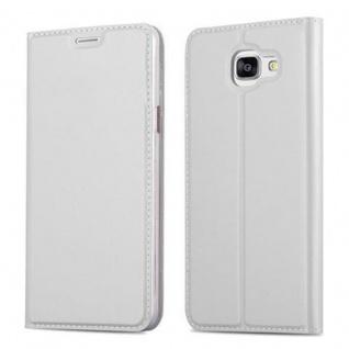 Cadorabo Hülle für Samsung Galaxy A5 2016 in CLASSY SILBER - Handyhülle mit Magnetverschluss, Standfunktion und Kartenfach - Case Cover Schutzhülle Etui Tasche Book Klapp Style
