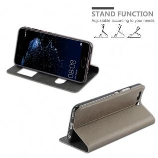 Cadorabo Hülle für Huawei P10 PLUS in STEIN BRAUN - Handyhülle mit Magnetverschluss, Standfunktion und 2 Sichtfenstern - Case Cover Schutzhülle Etui Tasche Book Klapp Style - Vorschau 5