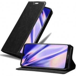 Cadorabo Hülle für Nokia 4.2 in NACHT SCHWARZ Handyhülle mit Magnetverschluss, Standfunktion und Kartenfach Case Cover Schutzhülle Etui Tasche Book Klapp Style
