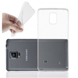 Cadorabo Hülle für Samsung Galaxy NOTE 4 in VOLL TRANSPARENT - Handyhülle aus flexiblem TPU Silikon - Silikonhülle Schutzhülle Ultra Slim Soft Back Cover Case Bumper