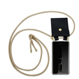 Cadorabo Handy Kette für Sony Xperia 1 in GLÄNZEND BRAUN - Silikon Necklace Umhänge Hülle mit Gold Ringen, Kordel Band Schnur und abnehmbarem Etui ? Schutzhülle