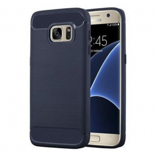 Cadorabo Hülle für Samsung Galaxy S7 - Hülle in BRUSHED BLAU - Handyhülle aus TPU Silikon in Edelstahl-Karbonfaser Optik - Silikonhülle Schutzhülle Ultra Slim Soft Back Cover Case Bumper