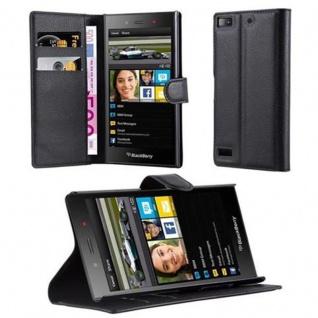 Cadorabo Hülle für Blackberry Z3 - Hülle in PHANTOM SCHWARZ ? Handyhülle mit Kartenfach und Standfunktion - Case Cover Schutzhülle Etui Tasche Book Klapp Style