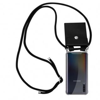 Cadorabo Handy Kette für Samsung Galaxy A50 in SCHWARZ Silikon Necklace Umhänge Hülle mit Silber Ringen, Kordel Band Schnur und abnehmbarem Etui Schutzhülle