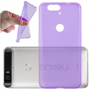 Cadorabo Hülle für Huawei NEXUS 6P - Hülle in TRANSPARENT LILA ? Handyhülle aus TPU Silikon im Ultra Slim 'AIR' Design - Ultra Slim Soft Backcover Case Bumper