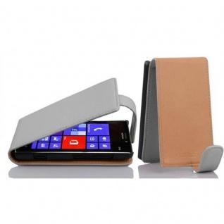 Cadorabo Hülle für Nokia Lumia 925 in MAGNESIUM WEIß - Handyhülle im Flip Design aus strukturiertem Kunstleder - Case Cover Schutzhülle Etui Tasche Book Klapp Style