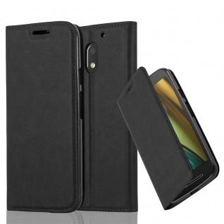 Cadorabo Hülle für Motorola MOTO E3 in NACHT SCHWARZ Handyhülle mit Magnetverschluss, Standfunktion und Kartenfach Case Cover Schutzhülle Etui Tasche Book Klapp Style