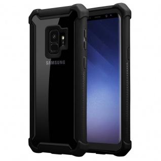Cadorabo Hülle für Samsung Galaxy S9 in ERLEN SCHWARZ - 2-in-1 Handyhülle mit TPU Silikon-Rand und Acryl-Glas-Rücken - Schutzhülle Hybrid Hardcase Back Case