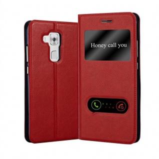 Cadorabo Hülle für Huawei NOVA PLUS in SAFRAN ROT - Handyhülle mit Magnetverschluss, Standfunktion und 2 Sichtfenstern - Case Cover Schutzhülle Etui Tasche Book Klapp Style