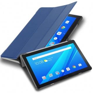 """Cadorabo Tablet Hülle für Lenovo Tab 4 10 PLUS (10, 1"""" Zoll) in JERSEY DUNKEL BLAU Ultra Dünne Book Style Schutzhülle mit Auto Wake Up und Standfunktion aus Kunstleder"""